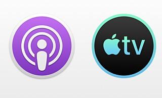 NYE IKONER: Slik kommer de respektive ikonene for den nye Podkaster og TV-appen til å se ut på Mac. Foto: 9to5Mac