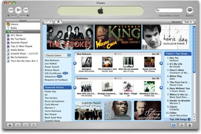 ITUNES 4: I 2003 introduserte Apple iTunes Music Store med omlag 200.000 sanger. Det samme året lanserte Apple for øvrig en Windows-versjon av iTunes, og daværende sjef Steve Jobs kalte det det beste Windows-programmet noensinne.