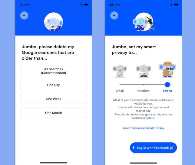 Jumbo kan rydde opp både på Facebook og i Google-søkehistorikken. Skjermbilde: Pål Joakim Pollen