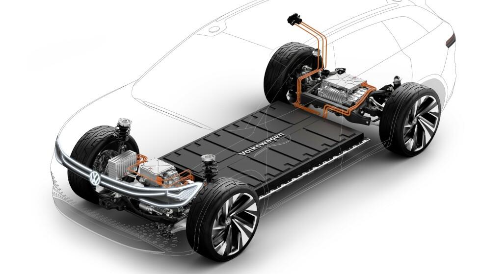 FLEKSIBEL: Den nye elektriske plattformen er svært fleksibel når det gjelder drivlinjer og gir store muligheter for raske modeller når markedet er klare for dem. Illustrasjon: VW.