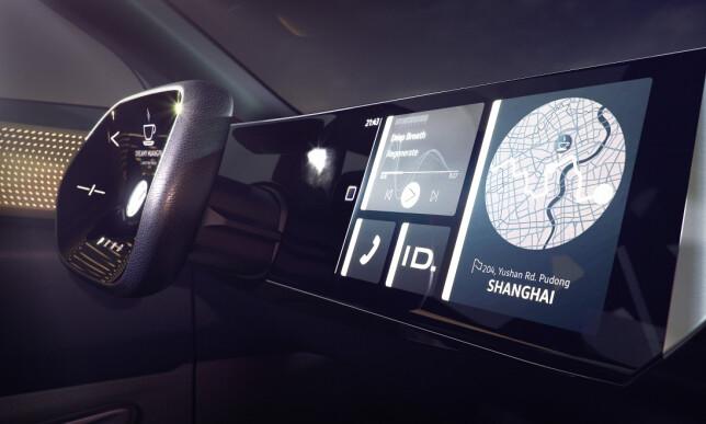 «SVEVENDE»: Det er utvilsomt noe konseptbil-aktig over den digitale cockpiten i I.D. Roomzz. Foto: Volkswagen