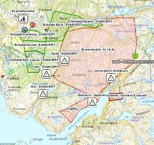 BRANNKART: Det lyserøde område viser hvor det er brann. Foto: Sørvest Politidistrikt.