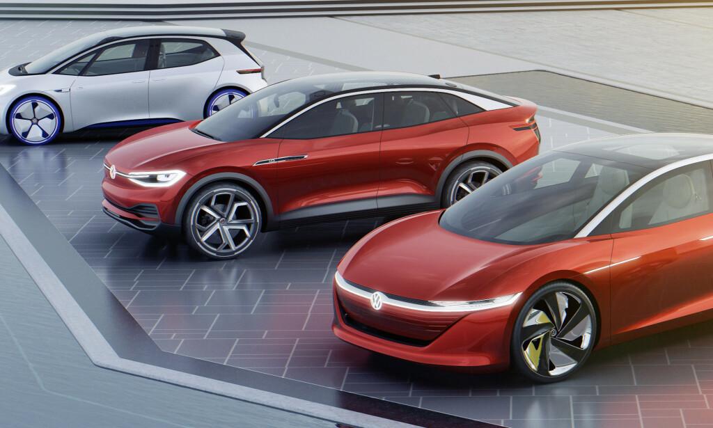 VW SATSER PÅ EL: VW er en av produsentene som ligger an til bøter i milliardklassen, men satser nå på en rekke nye elektriske modeller. Den første, ID Neo (øverst), vises til høsten. Foto: VW