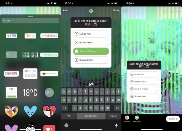 QUIZ-KLISTREMERKE: Instagram kaller de ulike interaktive Stories-funksjonene for «stickers» på engelsk. Du finner den nye quizen ved å trykke på klistremerk-ikonet når du lager et story-innlegg. Skjermbilde: Kirsti Østvang