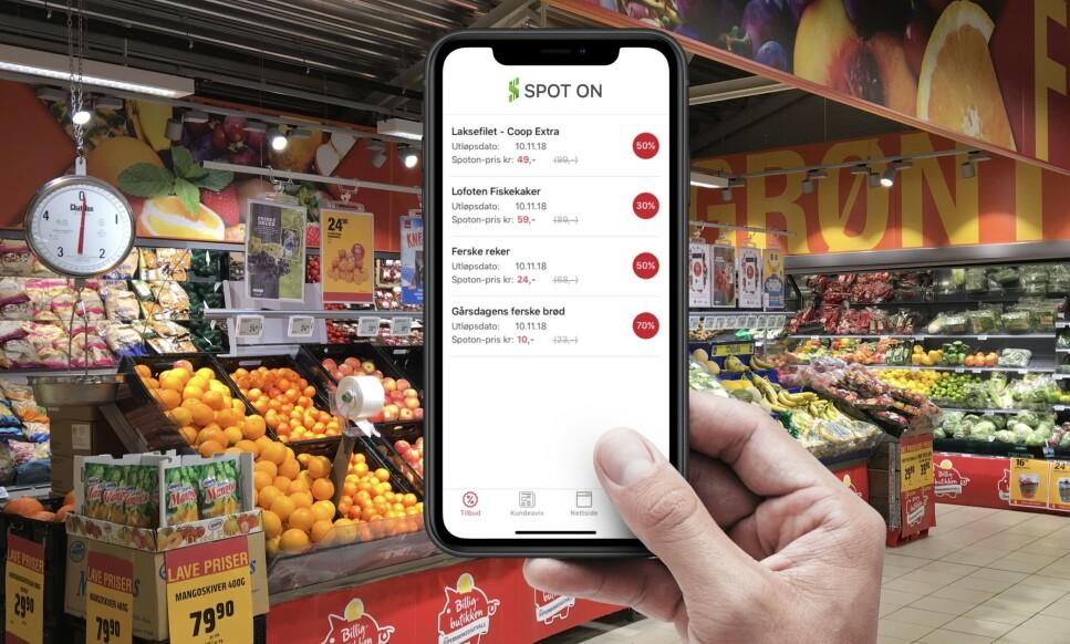 <strong>NY HANDLE-APP:</strong> Med Spot On kan du se hvilke matvarer i en butikk som snart går ut på dato - og som du får til rabatterte priser. Foto: Produsenten