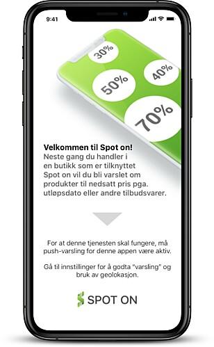 <strong>VARSEL:</strong> Spot On er laget for å varsle deg når du går inn i matbutikken. Foto: Produsenten