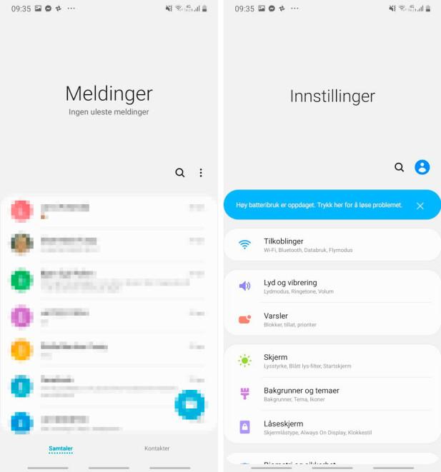 SMART TENKT: Mye funksjonalitet i Samsungs grensesnitt, One UI, er dyttet lenger ned på skjermen slik at du slipper å strekke tommelen helt til topps. skjermbilde: Pål Joakim Pollen
