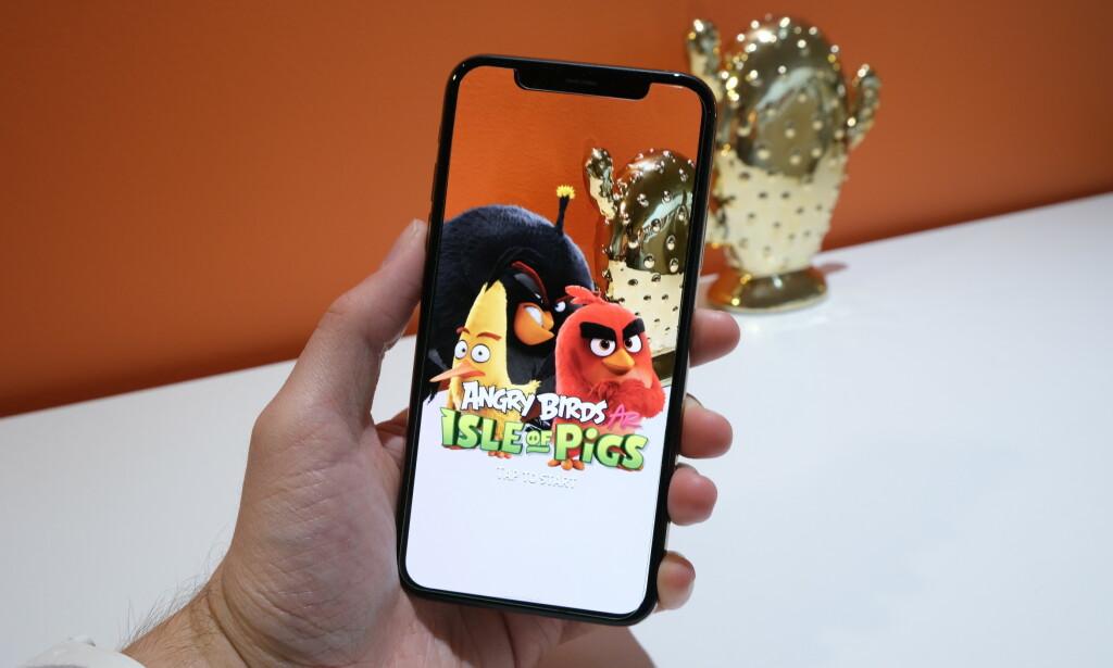 UTVIDET VIRKELIGHET: «Angry Birds: Isle of Pigs» er det første AR-spillet i serien. Foto. Martin Kynningsrud Størbu