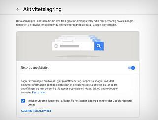 Via Googles «min aktivitet»-side kan du velge å slå av lagring av nettaktivitet, posisjonshistorikk og den slags. Skjermbilde: Pål Joakim Pollen