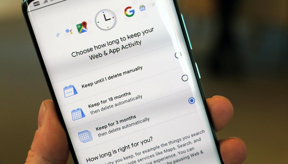 AUTO-SLETTING: Google ruller nå ut en ny funksjon der du automatisk kan slette aktivitet etter en viss tid. Foto: Pål Joakim Pollen