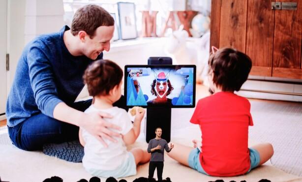 CHATTESKJERM: Facebook-sjef Mark Zuckerberg viste frem Portal i sin åpningstale på F8. Den kan brukes til å blant annet ha videosamtaler med andre. Foto: Amy Osborne/AFP/NTB Scanpix