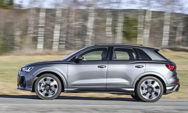 BEDRE PROPORSJONERT: Q3 har økt med 10 centimeter, og fått et mer aggressivt designuttrykk. Legg merke til hoftene over hjulbuene, de skal mimre over den gamle legende Audi UR Quattro. Foto: Jamieson Pothecary