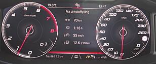 DYRE DRÅPER: Et forbruk på 1,26 liter på mila, med henger bakpå, er nokså friskt. Foto: Espen Stensrud