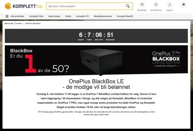 «BLINDT» SALG: Komplett har 50 eksemplarer av OnePlus 7 Pro som skal selges før telefonen i det hele tatt er lansert.