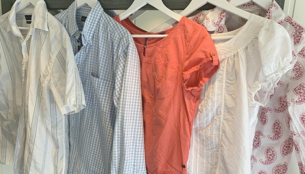 ETTER: Alle skjortene er betydelig glattere, selv om det henger endel igjen på de tynneste blusene og skjorten med vevde detaljer i stoffet. Foto: Kristin Sørdal