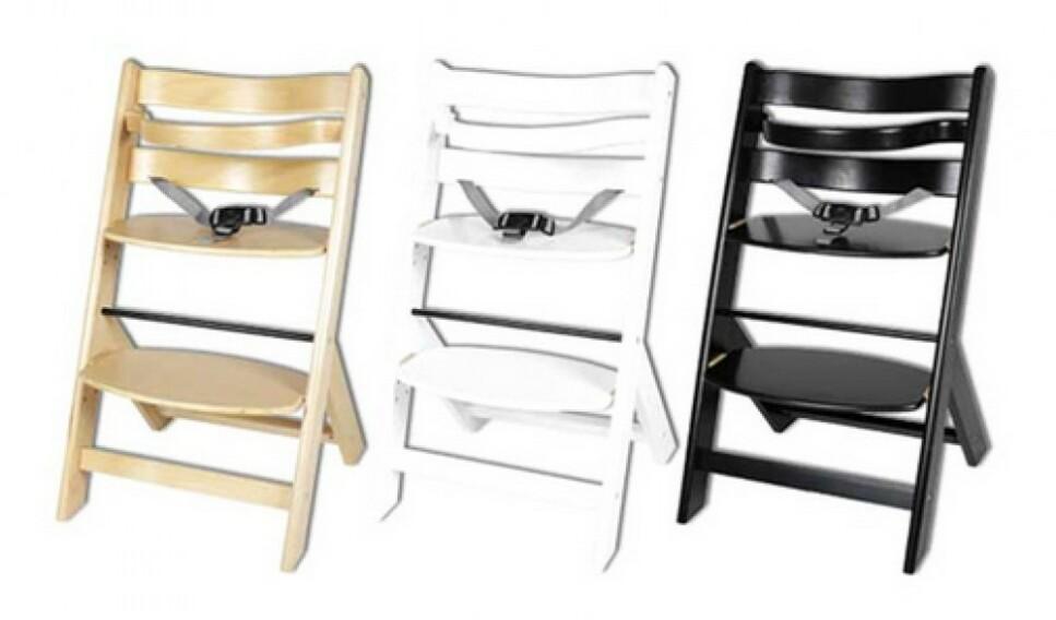 <strong>TILBAKEKALLES:</strong> Jollyroom tilbakekaller matstolen for barn av merket JLY. Foto: Jollyroom