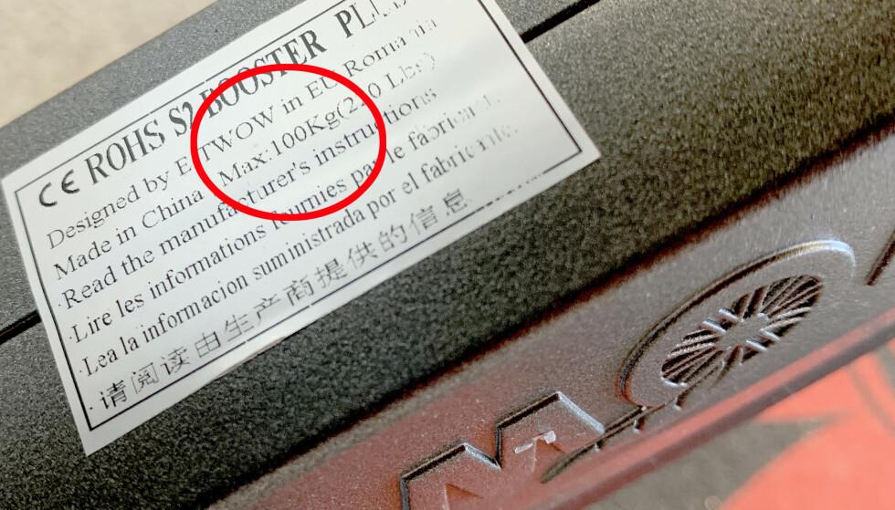 MAKS VEKT: Sjekk merkingen på sykkelen eller sparkesykkelen: Vekten må ikke overskride det kjøretøyet er godkjent for. Foto: Kristin Sørdal