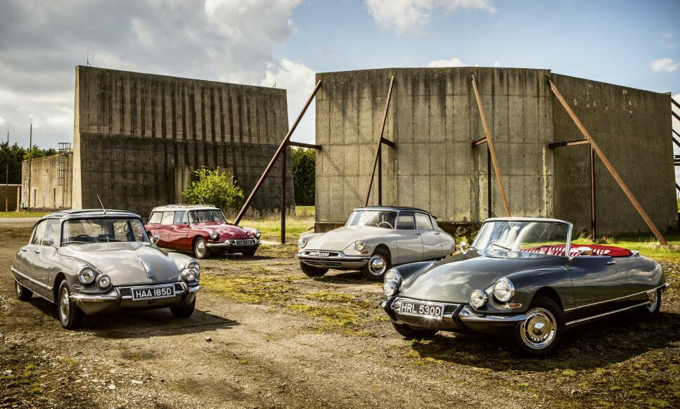 TIDENES VAKRESTE? Fra venstre: DS Pallas, DS Safari, DS19, DS Décapotable. Foto: Tony Baker