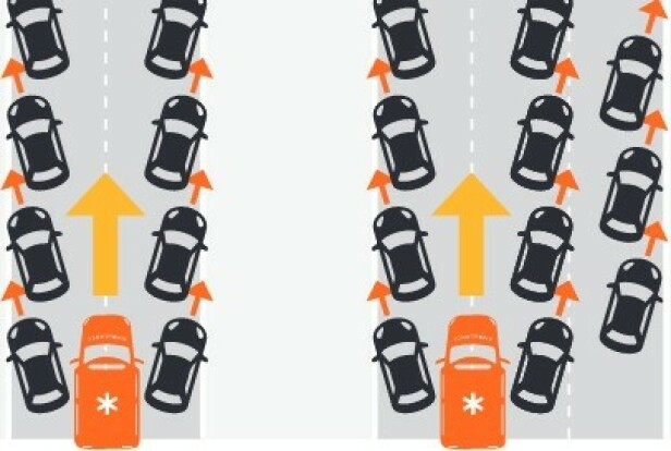 SLIK GJØR DU: På en tofelts vei skal du gi plass til ambulanse og redningsbiler i midten. På en vei med flere enn to felt, skal nød-korridoren lages nest lengst ut til venstre. Illustrasjon: ETSC