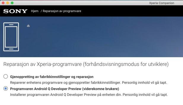 Via Sonys PC-programvare kunne vi oppgradere Xperia XZ3 til Android Q. Skjermbilde: Pål Joakim Pollen