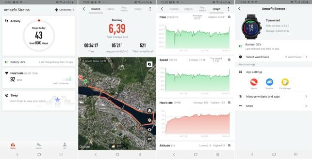 Fra venstre: hovedskjerm i app, visning av treningsøkt, oversikt over løps- og pulssoner og klokkens innstillinger i appen.