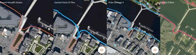 Sammenlikning i GPS-svingen. Trykk på bildet for større versjon.