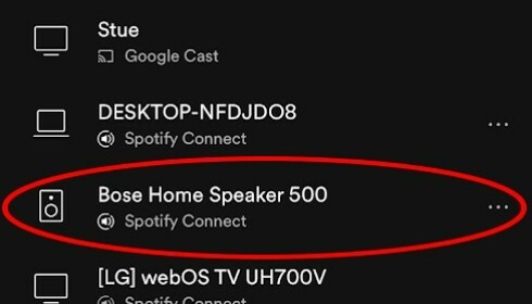 SPOTIFY CONNECT: Spotify-appen på Android/iOS byr på mer funksjonalitet enn Bose-appen, og kan enkelt erstatte denne. (Skjermdump)