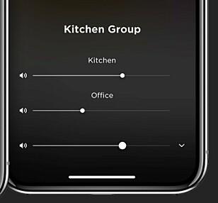 MULTIROM: Via appen kan du koble flere høyttalere sammen i en gruppe, spille samme innhold på dem og justere lyden individuelt.