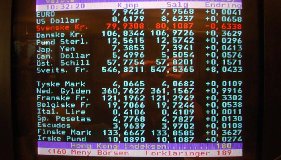 FORSVINNER: TV 2s gamle tekst-TV-tjeneste, som nå er lagt ned. GET sier det ikke er tekst-TV i deres nye dekodere. Foto: Per Løchen / NTB Scanpix