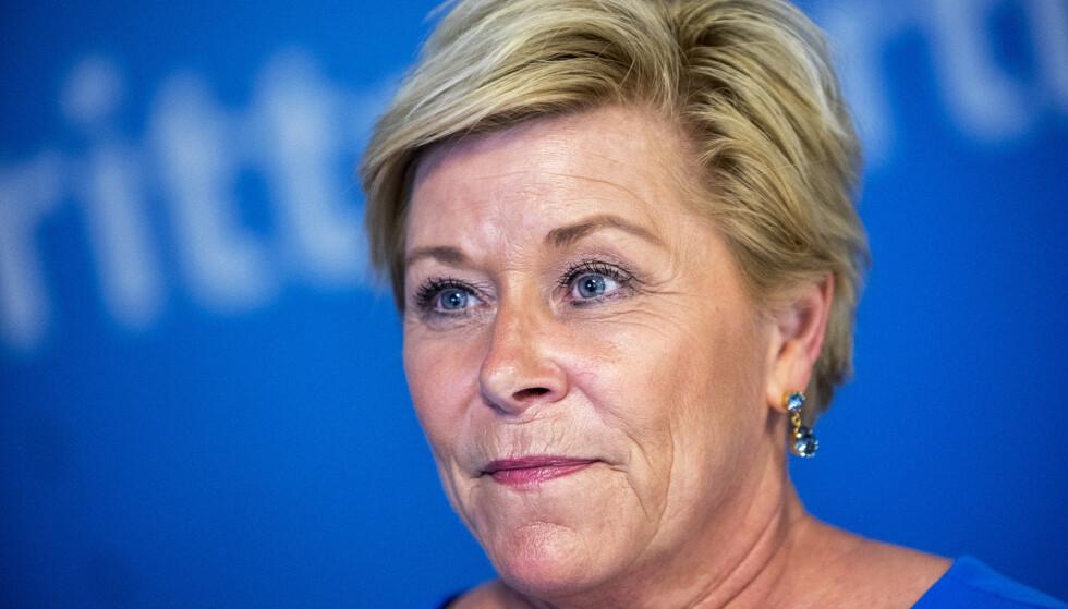 Finansminister Siv Jensen (Frp) legger tirsdag klokken 10.45 fram revidert nasjonalbudsjett i Stortinget. Foto: Ole Berg-Rusten / NTB Scanpix