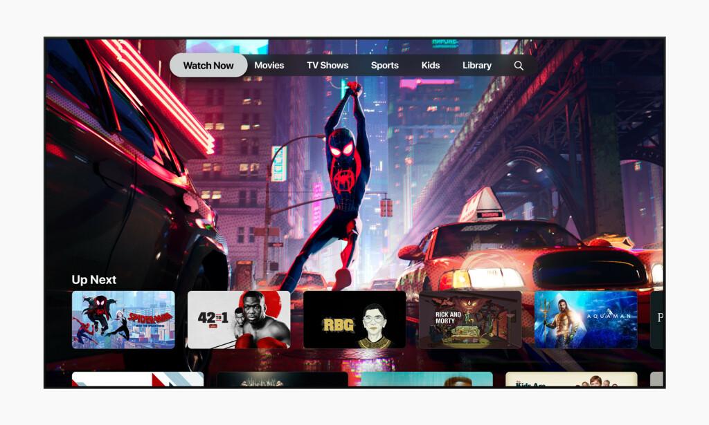 SE NÅ: I Apple TV-appen finnes det en seksjon kalt «Watch Now», som viser favorittinnhold fra tjenestene du abonnerer på. Her er det en funksjon kalt «Up Next», som lar deg fortsette å se innhold. Foto: Apple