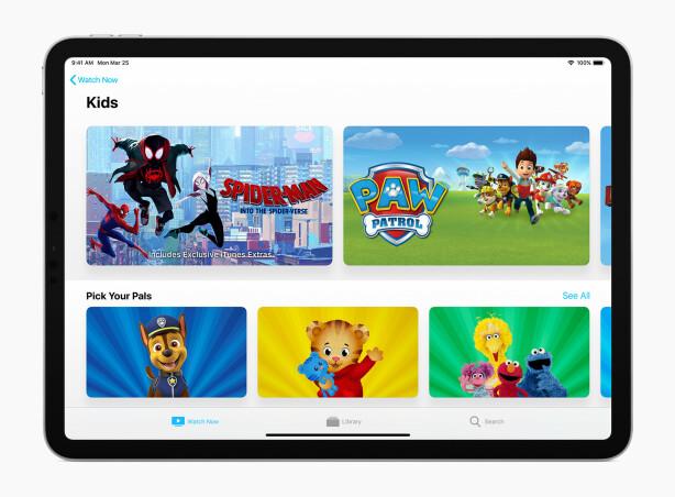 BARE FOR BARN: Som de fleste andre TV-tjenester tilbyr Apple en spesialkuratert seksjon med innhold for barn. Daniel Tiger gleder seg. Foto: Apple