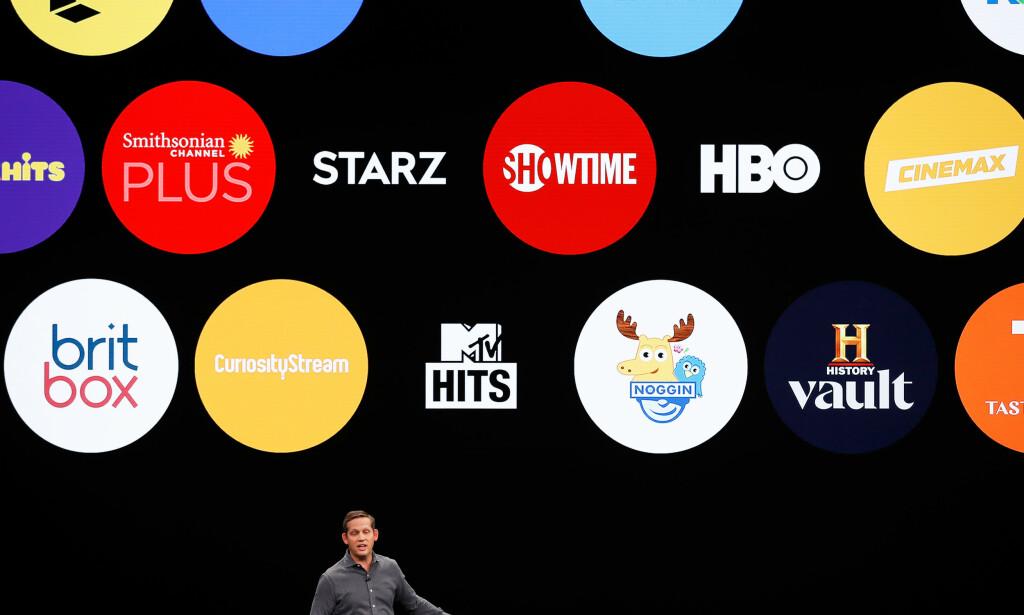 PLUKK OG MIKS: I en oppdatert versjon av Apple TV-appen kan du abonnere på flere strømmetjenester direkte gjennom Apple. Foto: NTB Scanpix