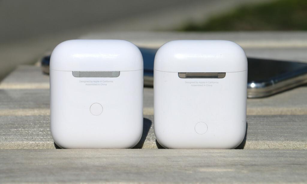SMÅ FORSKJELLER BAK: Apple har gjort noen endringer på baksiden også. Hengselet som holder lokket og etuiet sammen er av anodisert metall, mens på det gamle dekselet er denne av glinsende metall. Tilkoblingsknappen har dessuten endret plassering. Foto: Kirsti Østvang
