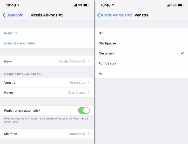INNSTILLINGSMULIGHETENE: Apple har ingen egen AirPods-app. Du finner innstillingene ved å velge øreproppene i Bluetooth-innstillingene på din iPhone. Skjermbilde: Kirsti Østvang