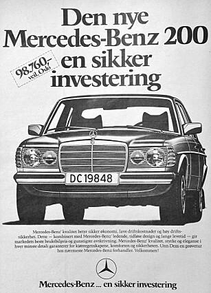 SIKKER INVESTERING: Både i 1977 og fortsatt i dag. Foto: Mercedes-Benz