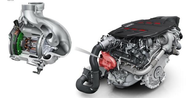 FOR FØRSTE GANG: Audi har allerede mildhybrider, men de bruker en ekstra kompressor, eller motordrevet turbo, for første gang. Den er plassert så nær innsuget som mulig for å sikre raskest mulig respons. Illustrasjon: Audi