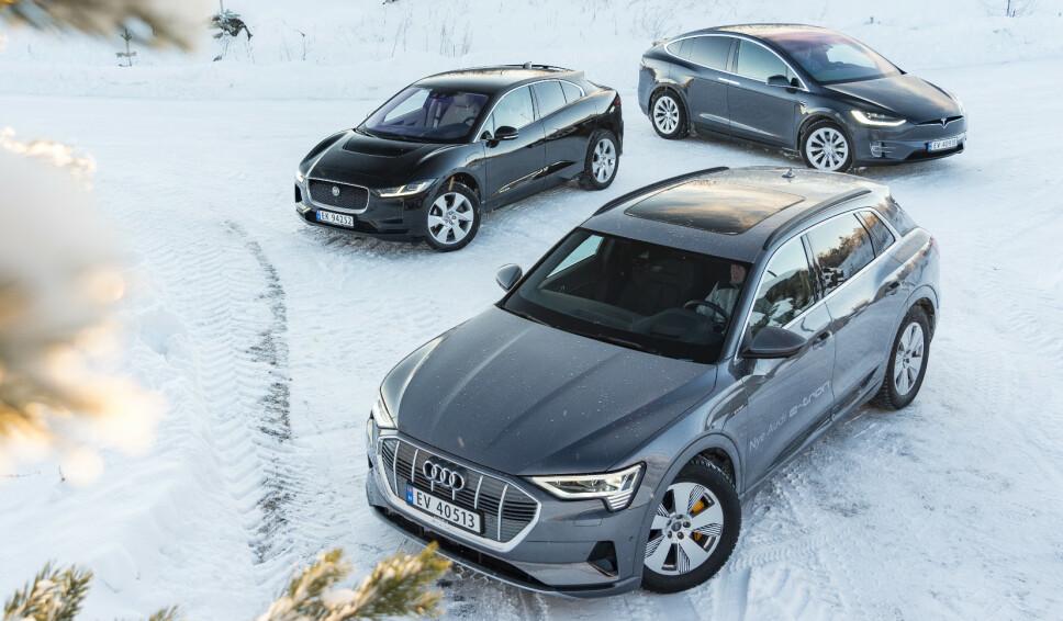 <strong>STORSELGERE:</strong> Fra venstre: Jaguar I-Pace, Tesla Model X og Audi e-tron. Tre premium elbiler, perfekte for norske forhold. Men hvordan velger du den rette for deg? Det vil vi hjelpe deg med. Foto: Jamieson Pothecary