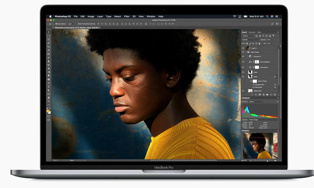 ARBEIDSHEST: Apple leverer for første gang en bærbar Mac med åttekjerners prosessor, noe som kommer blant annet foto- og videoredigerere til gode. Foto: Apple
