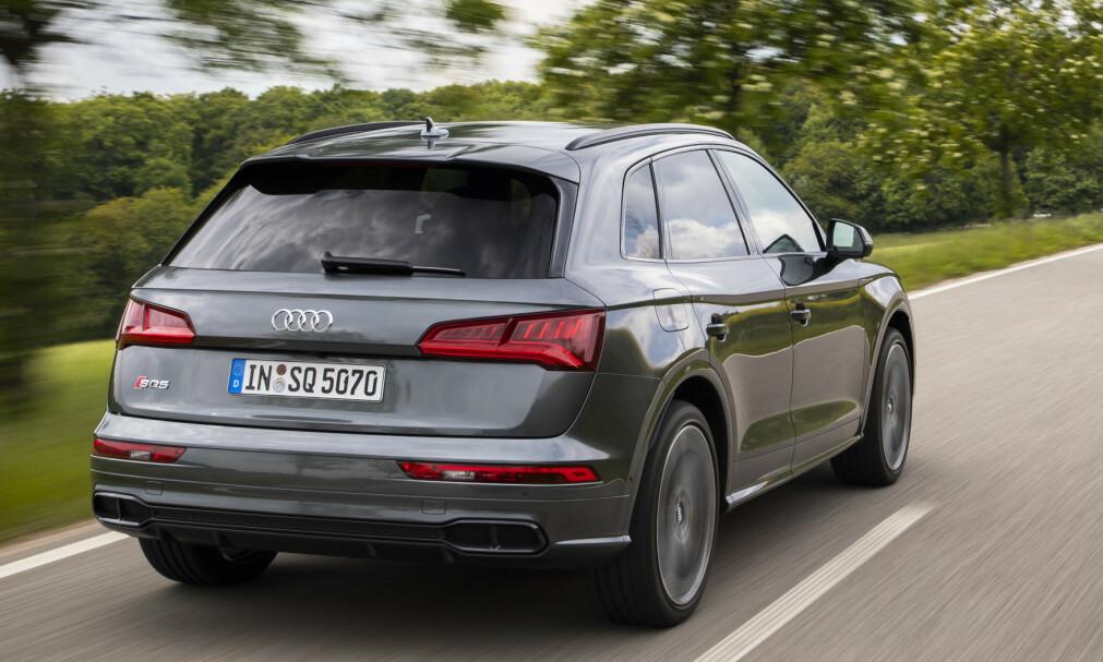 AUDI SQ5 TDI: Modellen har vært på markedet siden 2016, men har ikke tatt av i Norge, på grunn av mangel av ladbar hybrid. Dieselen SQ5 betegnes som foreløpig toppmodell, med sine 347 hester og den eneste med seks sylindre. Foto: Audi