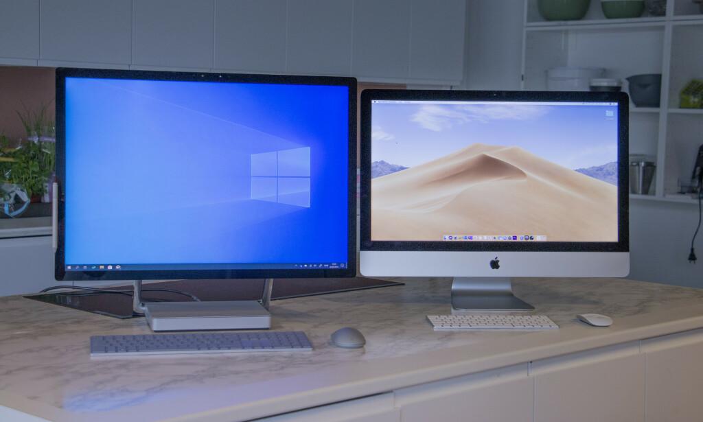 """ALT-I-ETT-BONANSE: Surface Studio 2 til venstre og iMac 27"""" til høyre er to lekre datamaskiner. Foto: Pål Joakim Pollen"""