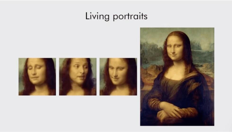 IMPONERENDE: Ved å bruke ett bilde av Mona Lisa, klarer Samsung å lage relativt troverdig video. Se eksempel lenger ned. Foto: Samsung AI Center