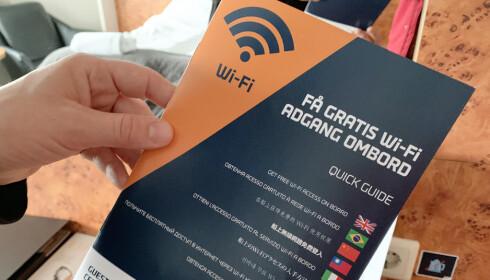 Bruker du mye WiFi, er dette inkludert i prisen til Commodore Class-lugaren. Foto: Kristin Sørdal