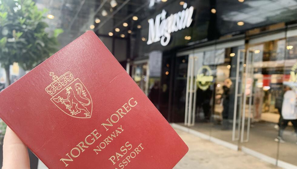 HUSK PASS: Kan du bevise at du er norsk på kjøpesenteret Magasin du Nord midt i København, får du 10 prosent rabatt på nesten alle varer. Foto: Dinside