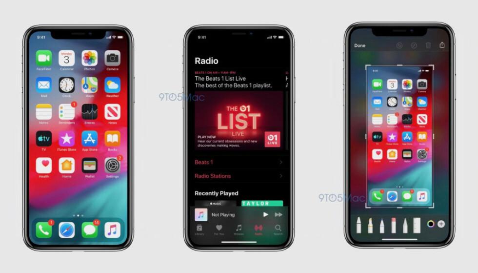 LEKKEDE SKJERMBILDER: Nettstedet 9to5Mac har fått tilgang på skjermbilder fra den kommende iOS 13-oppdateringen. Her kan vi blant annet se hvordan den nye mørke modusen kommer til å se ut. Foto: 9to5Mac
