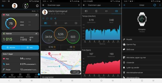 Slik er menyene i Connect-appen til Garmin.