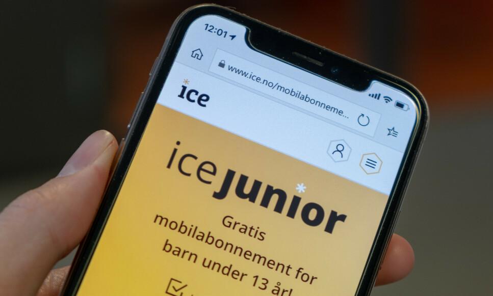 ICEJUNIOR: Mobiloperatøren Ice lanserer et nytt abonnement for barn under 13 år. Foto: Ice