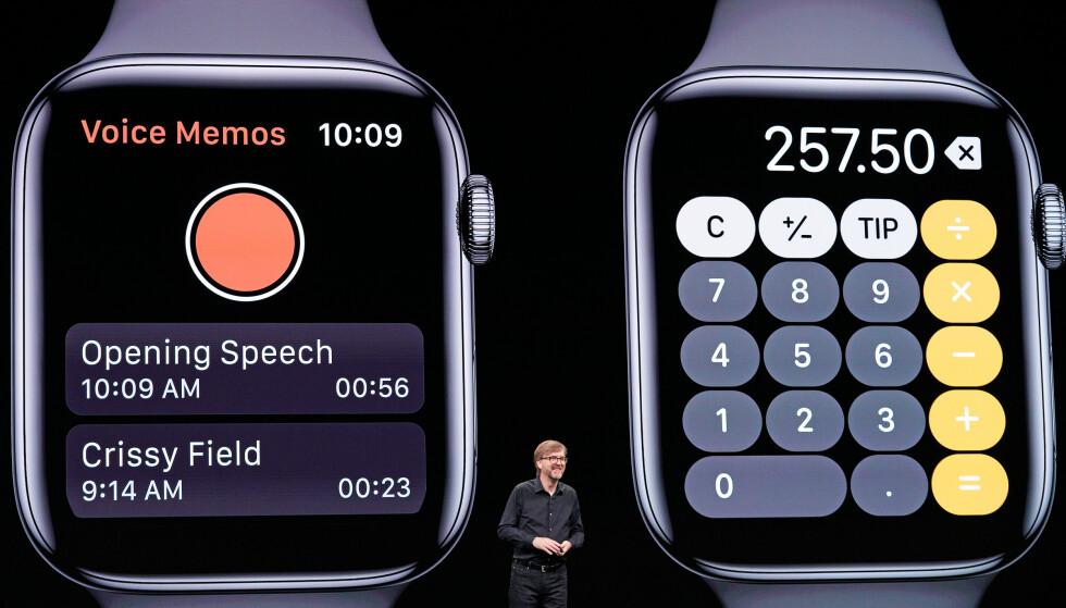 ENDELIG: Taleopptak og Kalkulator er to av appene mange har savnet å ha på sin Apple Watch. Foto: Justin Sullivan/AFP Photo/NTB Scanpix