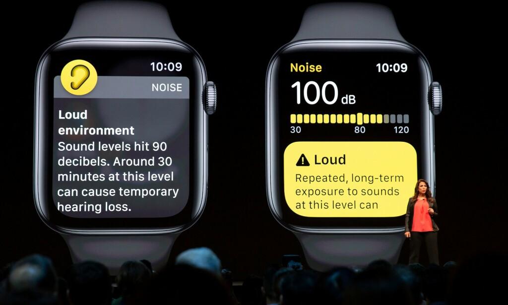 HØRSELSHELSE: Det er begrepet Apple bruker om den nye støymåler-funksjonen i Apple Watch. Foto: Mason Trinca/Reuters/NTB Scanpix