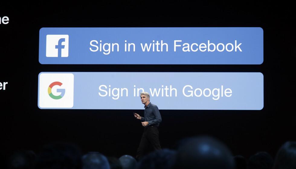 VANLIG SYN: Når du skal registrere deg på en ny tjeneste, ser du veldig ofte knapper som dette. Nå har Apple lansert en løsning som gjør at du skal slippe å trykke på noen av disse. Foto: Jeff Chiu/AP/NTB Scanpix